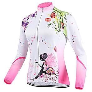 povoljno Anime kostimi-TVSSS Žene Dugih rukava Biciklistička majica Zima Runo Coolmax® Likra Kolaž Uglađeni Cvjetni / Botanički Bicikl Majice Prozračnost Sportski Odjeća / Visoka elastičnost