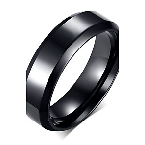 cheap Rings-Men's Band Ring Black Stainless Steel Titanium Steel Fashion Party Daily Jewelry / Casual