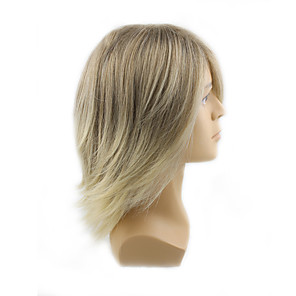 cheap Synthetic Trendy Wigs-Synthetic Wig Wavy Wavy With Bangs Wig Blonde Medium Length Blonde Synthetic Hair Men's Blonde