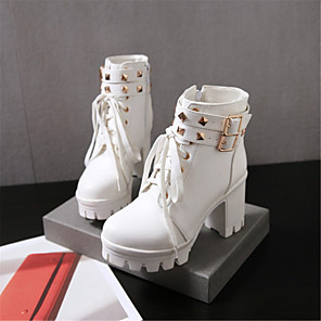 cheap Women's Boots-Women's Boots Block Heel Boots Chunky Heel / Block Heel Leatherette Fashion Boots Fall / Winter White / Black / Wedding / Party & Evening / EU42