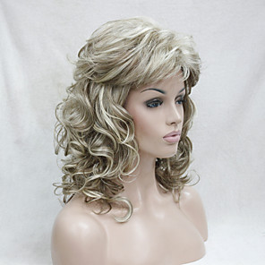 cheap Synthetic Trendy Wigs-Synthetic Wig Curly Curly With Bangs Wig Blonde Medium Length Blonde Synthetic Hair Women's Blonde Hivision