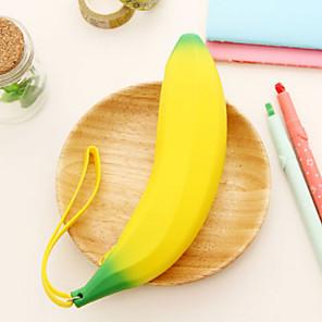 cheap Cases & Purses-Silicone Banana Design Pen Bag