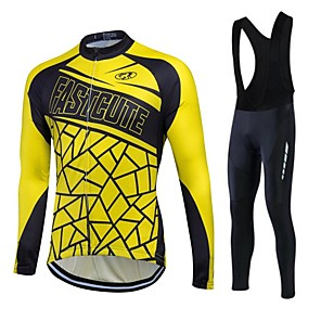 cheap Cycling Jersey & Shorts / Pants Sets-Fastcute Men's Women's Long Sleeve Cycling Jersey with Bib Tights Yellow / Black Bike Pants / Trousers Jersey Tights Thermal / Warm Fleece Lining Breathable 3D Pad Quick Dry Winter Sports Polyester
