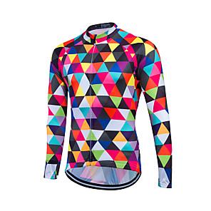 cheap Cycling Jerseys-Fastcute Men's Long Sleeve Cycling Jersey Winter Fleece Coolmax® Lycra Bike Jersey Top Mountain Bike MTB Road Bike Cycling Breathable Back Pocket Sweat-wicking Sports Clothing Apparel / Stretchy