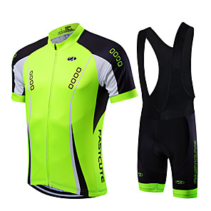 cheap Triathlon Clothing-Fastcute Men's Short Sleeve Cycling Jersey with Bib Shorts Coolmax® Lycra Yellow Red Light Green Bike Clothing Suit Breathable Quick Dry Sports Mountain Bike MTB Road Bike Cycling Clothing Apparel