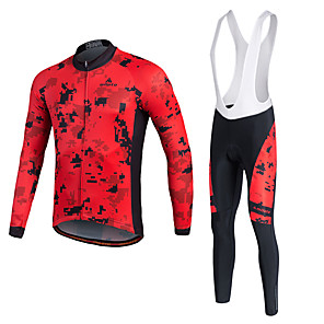 cheap Cycling Jerseys-Miloto Men's Long Sleeve Cycling Jersey with Bib Tights Winter Lycra Polyester White Black Yellow Bike Jersey Tights Bib Tights Breathable 3D Pad Quick Dry Sweat-wicking Sports Sports Mountain Bike