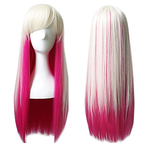 cheap Costume Wigs-Synthetic Wig Cosplay Wig Straight Straight Wig Pink Long Pink Synthetic Hair Women's Pink
