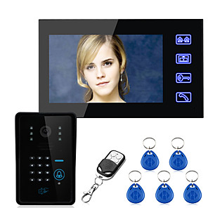 cheap Video Door Phone Systems-Touch Key 7 inch Lcd RFID Password One to One Video Door Phone Intercom System Wth 700TVL CMOS IR Camera Access Control System Wired Wall Mounting Hands Free