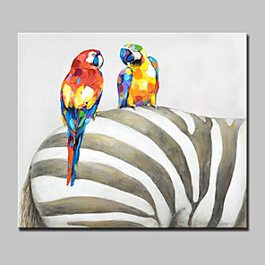 cheap Abstract Paintings-Oil Painting Hand Painted - Abstract Animals Pop Art Modern With Stretched Frame