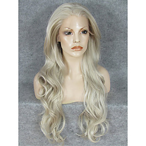 cheap Synthetic Lace Wigs-Synthetic Wig Wavy Wavy Lace Front Wig Blonde Blonde Synthetic Hair Blonde