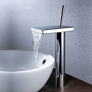 cheap Bathroom Sink Faucets-Bathroom Sink Faucet - Waterfall Chrome Vessel One Hole / Single Handle One HoleBath Taps / Brass