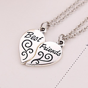 cheap Pendant Necklaces-Women's Pendant Necklace Engraved 2 pcs Matching Broken Heart Friends Heart Love life Tree Best Friends Ladies European Sister everyday Silver Plated Alloy Silver Necklace Jewelry 2pcs For Thank You