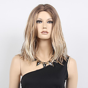 cheap Synthetic Trendy Wigs-Synthetic Wig Wavy Wavy Bob Wig Blonde Medium Length Blonde Synthetic Hair Women's Middle Part Bob Ombre Hair Dark Roots Blonde / Natural Hairline / Natural Hairline