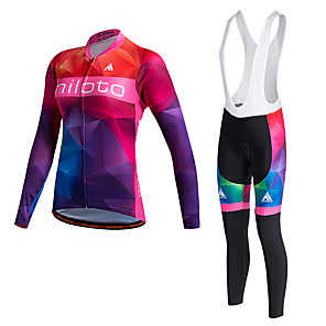cheap Cycling Jersey & Shorts / Pants Sets-Miloto Women's Long Sleeve Cycling Jersey with Bib Tights Winter Fleece Polyester Lycra Black White Plus Size Bike Jersey Tights Bib Tights Breathable 3D Pad Quick Dry Sweat-wicking Sports Sports