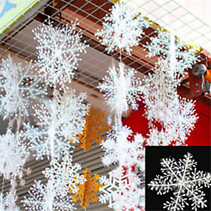 cheap Christmas Decorations-30Pcs Christmas Snow flakes White Snowflake Ornaments Holiday Christmas Tree Decortion Festival Party