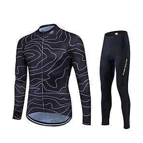 cheap Cycling Jersey & Shorts / Pants Sets-Fastcute Men's Long Sleeve Cycling Jersey with Tights Black Plus Size Bike Jersey Tights Clothing Suit Breathable 3D Pad Quick Dry Sweat-wicking Sports Polyester Lycra Lines / Waves Road Bike Cycling