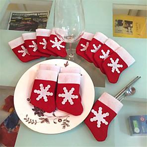 cheap Christmas Decorations-12PCS Christmas Socks Christmas Snowflakes Socks Tableware Sets Christmas Knife and Fork bags
