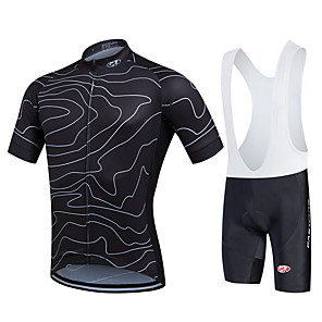 cheap Synthetic Extensions-Fastcute Men's Short Sleeve Cycling Jersey with Bib Shorts Black Plus Size Bike Bib Shorts Jersey Bib Tights Breathable 3D Pad Quick Dry Sweat-wicking Sports Polyester Lycra Lines / Waves Mountain