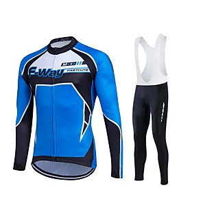 cheap Cycling Jersey & Shorts / Pants Sets-Fastcute Men's Long Sleeve Cycling Jersey with Bib Tights Black Plus Size Bike Jersey Tights Bib Tights Breathable 3D Pad Quick Dry Sweat-wicking Sports Polyester Lycra Patchwork Mountain Bike MTB