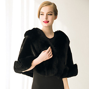 cheap Handbag & Totes-Sleeveless Capelets Faux Fur Wedding / Party Evening / Casual Women's Wrap With Feathers / Fur
