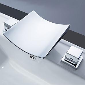 povoljno indukcija Slavine-Kupaonica Sudoper pipa - Waterfall / Slavine s tri otvora / LED Chrome Slavine s tri otvora Dvije ručke tri rupeBath Taps