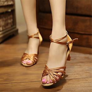 cheap Latin Shoes-Women's Dance Shoes Latin Shoes Salsa Shoes Heel Customized Heel Customizable Almond / Red / Black / Satin / EU41