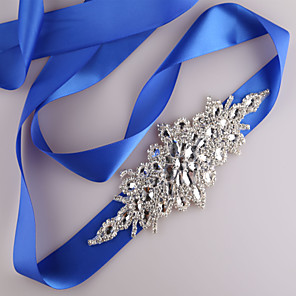 cheap Party Sashes-Satin Wedding / Party / Evening / Dailywear Sash With Rhinestone / Beading / Sequin Women's Sashes