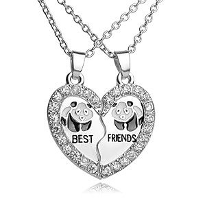 cheap Pendant Necklaces-Men's Women's Pendant Necklace Pendant Friends Panda Animal Friendship Relationship Personalized Vintage European Double-layer Alloy Silver Necklace Jewelry For Daily Casual Sports Graduation