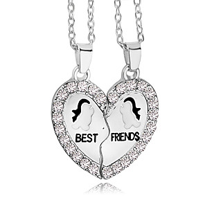 cheap Pendant Necklaces-Men's Women's Pendant Necklace Engraved Broken Heart Heart life Tree Best Friends Friendship Relationship Work Casual Love Heart Rhinestone Silver Plated Alloy Silver Necklace Jewelry For Thank You