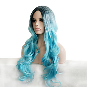cheap Synthetic Trendy Wigs-Synthetic Wig Curly Curly Wig Long Smoke Blue Synthetic Hair Women's Ombre Hair Dark Roots Natural Hairline Blue