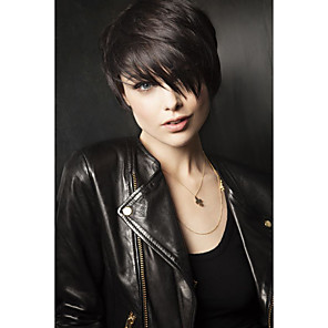 cheap Synthetic Trendy Wigs-Human Hair Blend Wig Short Straight Wavy kinky Straight Pixie Cut Short Hairstyles 2020 With Bangs kinky straight Natural Wave Side Part Capless Women's Natural Black #1B Palest Blonde Blonde
