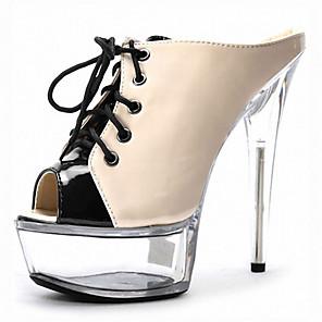 cheap Women's Heels-Women's Heels Cross-Strap Sandals Platform Sandal Summer / Fall Stiletto Heel / Platform LED Shoes Club Shoes Lucite Heel Casual Dress Party & Evening Lace-up Patent Leather Nude / White / Black