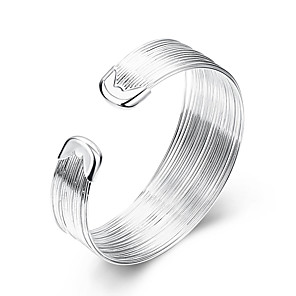 cheap Bracelets-Women's Cuff Bracelet Statement Ladies European Simple Style Fashion Sterling Silver Bracelet Jewelry White For Party Daily Casual / Silver Plated