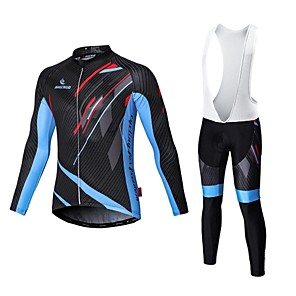 cheap Cycling Jersey & Shorts / Pants Sets-Malciklo Men's Long Sleeve Cycling Jersey with Bib Tights White Black Bike Tights Clothing Suit Breathable 3D Pad Quick Dry Sports Coolmax® Elastane Lycra Geometry Mountain Bike MTB Road Bike Cycling