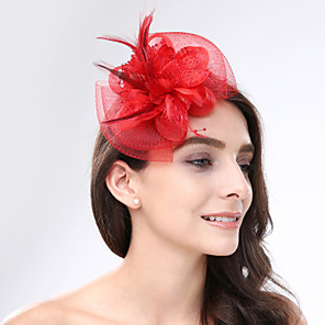 cheap Hair Jewelry-Feather / Net Fascinators / Headwear with Floral 1pc Wedding / Special Occasion / Tea Party Headpiece