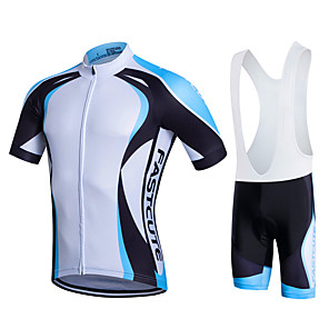 cheap Men's Cycling Jersey & Shorts / Pants Sets-Fastcute Men's Short Sleeve Cycling Jersey with Bib Shorts Summer Lycra Polyester Yellow Red Blue Plus Size Bike Bib Shorts Jersey Bib Tights 3D Pad Quick Dry Breathable Back Pocket Sweat wicking