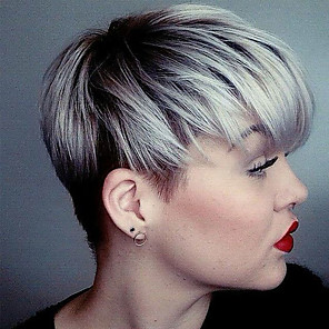 cheap Synthetic Lace Wigs-Human Hair Wig Short Straight Layered Haircut Short Hairstyles 2020 Straight Short Silver Black Blonde Dark Roots With Bangs Capless Women's Silver Honey Blonde Medium Auburn
