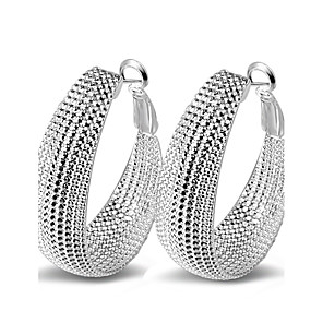 cheap Earrings-Women's Hoop Earrings Statement Ladies Sexy Fashion Italian everyday Sterling Silver Earrings Jewelry Silver For Wedding Party Daily Casual Masquerade Engagement Party