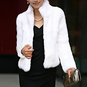cheap Women's Boots-Women's Winter Short Fur Coat, Solid Colored Stand Long Sleeve Faux Fur Formal Style Black / White