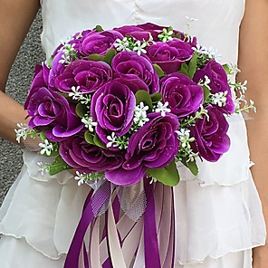 "cheap Wedding Flowers-Wedding Flowers Bouquets Wedding / Party / Evening Satin 9.84""(Approx.25cm)"