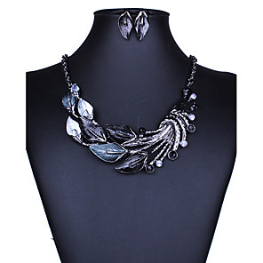 cheap Jewelry Sets-Women's Jewelry Set Necklace / Earrings Ladies European Fashion Euramerican Elegant Earrings Jewelry Black / Green / Purple For Wedding Party Daily Casual 1 set