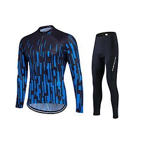 cheap Tattoo Machines-Fastcute Men's Long Sleeve Cycling Jersey with Tights Stripes Plus Size Bike Jersey Tights Clothing Suit Breathable 3D Pad Quick Dry Sweat-wicking Sports Polyester Lycra Stripes Mountain Bike MTB