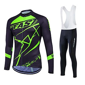 cheap Cycling Jersey & Shorts / Pants Sets-Fastcute Men's Long Sleeve Cycling Jersey Black Plus Size Bike Clothing Suit Thermal / Warm Fleece Lining Breathable 3D Pad Quick Dry Winter Sports Polyester Fleece Silicon Sports Mountain Bike MTB
