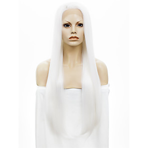 cheap Synthetic Lace Wigs-Synthetic Wig Straight Kardashian Straight Lace Front Wig White Synthetic Hair White StrongBeauty