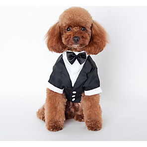cheap Dog Clothes-Dog Costume Coat Outfits British Wedding Outdoor Winter Dog Clothes Black Costume Cotton S M L XL XXL