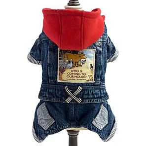 cheap Dog Clothes-Dog Jumpsuit Denim Jacket / Jeans Jacket Winter Dog Clothes Blue Costume Denim Jeans Cowboy Fashion S M L XL XXL