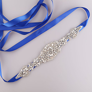 cheap Party Sashes-Satin Wedding / Party / Evening / Dailywear Sash With Rhinestone / Beading Women's Sashes