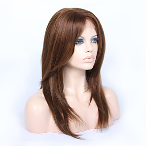 cheap Human Hair Wigs-Human Hair Glueless Lace Front Lace Front Wig style Brazilian Hair Straight Yaki Wig 130% 150% Density 14-18 inch with Baby Hair Natural Hairline African American Wig 100% Hand Tied Women's Medium