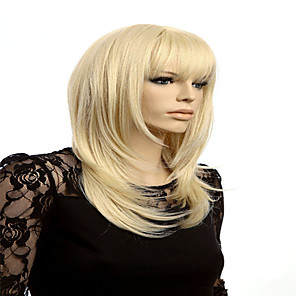 cheap Synthetic Trendy Wigs-Synthetic Wig Cosplay Wig Straight kinky Straight kinky straight Straight Wig Blonde Blonde Synthetic Hair Blonde
