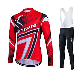 cheap Cycling Jersey & Shorts / Pants Sets-Fastcute Men's Long Sleeve Cycling Jersey with Bib Tights Winter Fleece Polyester Lycra Silver+Blue Plus Size Bike Jersey Tights Bib Tights Breathable 3D Pad Quick Dry Sweat-wicking Sports Sports
